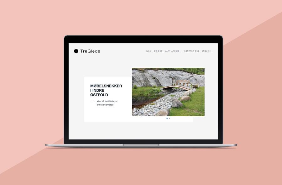 Nettsiden til Treglede, vist på en macbook med rosa bakgrunn