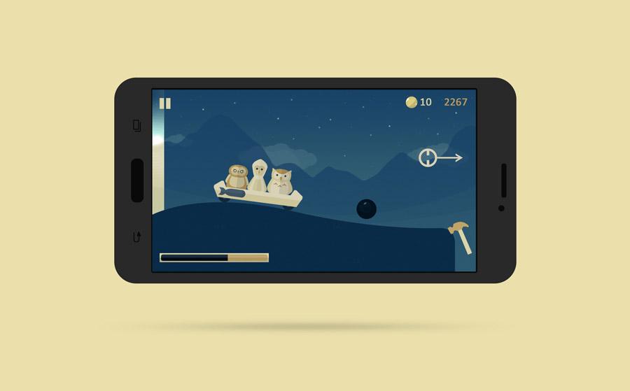 Spillet Owlcoaster, vist på en smarttelefon med gul bakgrunn
